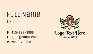 Organic Coffee Bean Leaf Business Card