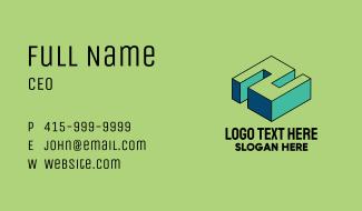 3D Pixel Letter N Business Card