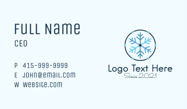 Blue Winter Snowflake  Business Card