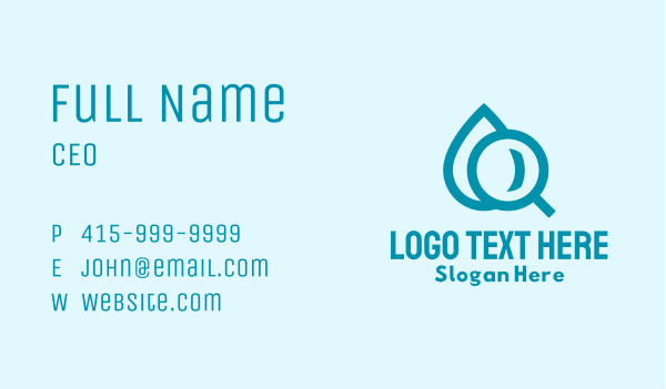 droplet - Water Magnifying Glass Business card horizontal design