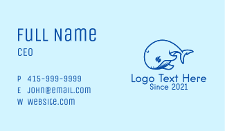 Blue Whale Waterpark Business Card