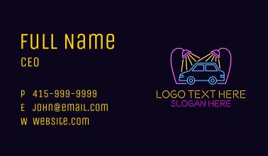 Neon Car Wash Signage Business Card
