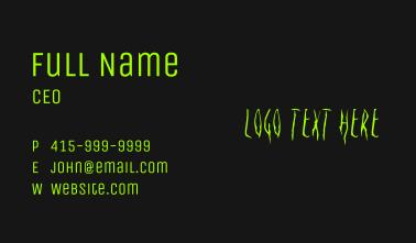 Halloween Grudge Wordmark Business Card