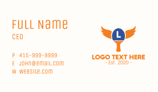 Table Tennis Wings Lettermark Business Card