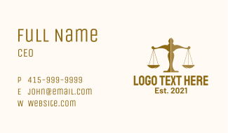 Brown Justice Scale  Business Card