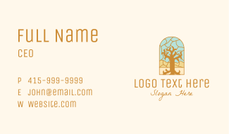 Multicolor Stained Glass Tree Business Card