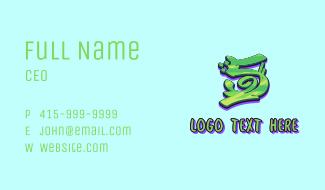 Green Graffiti Art Number 5 Business Card