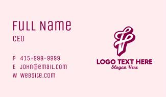 Fancy F & V Monogram Business Card
