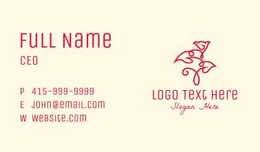 Red Minimalist Rosebud Business Card