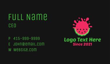 Watermelon Slice Splash Business Card