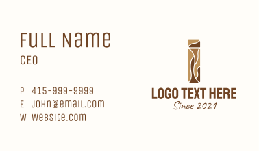 Brown Wood Letter I Business Card
