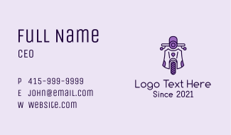 Purple Vintage Scooter Business Card