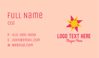 Pink Yellow Star Business Card