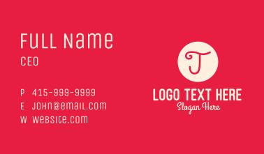 Pink Handwritten Letter J Business Card