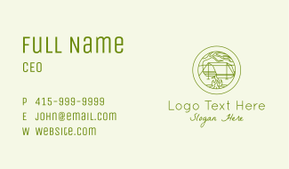 Green Camping Campfire Business Card