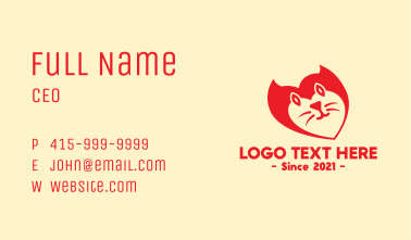 Red Pet Cat Business Card