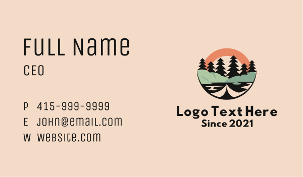 explore - Tree Lake Outdoor Business card horizontal design