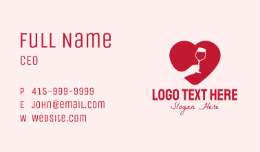 Heart Wine Tasting Business Card
