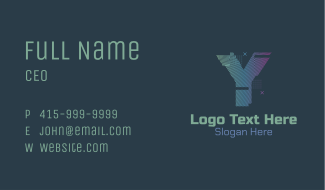 Modern Glitch Letter Y Business Card