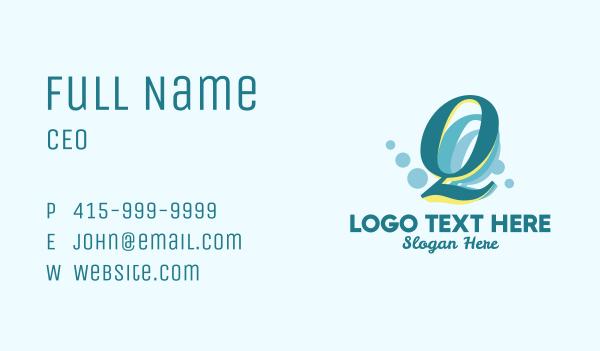detergent - Bubbles Letter Q  Business card horizontal design