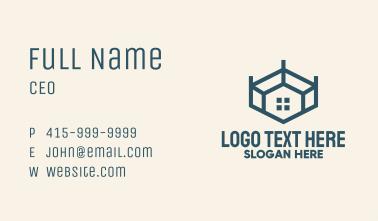 Blue Geometric Room Business Card