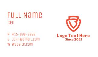 Orange Letter B Shield Business Card