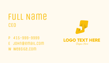 Yellow Letter J Business Card