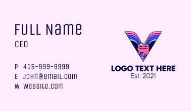 Colorful Soda Letter V Business Card