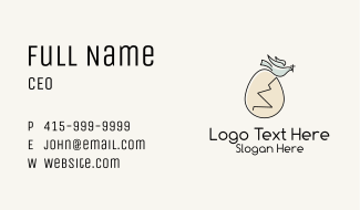 Holy Egg Dove Business Card