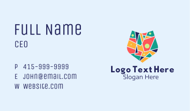 Colorful Mosaic Shield  Business Card