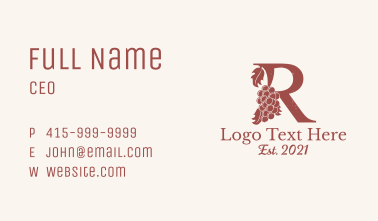 Vintage Winery Letter R Business Card