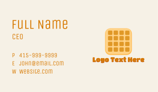 Cute Waffle Letter Business Card