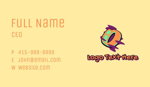 number 0 - Graffiti Art Letter O Business card horizontal design