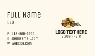 Construction Bulldozer Equipment Business Card