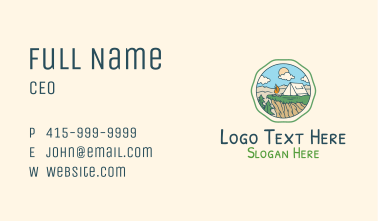 Summer Outdoor Camping Business Card