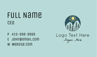 Sunny Mountain Trees Business Card