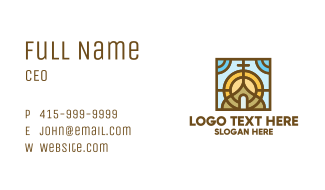 Colorful Mosaic Christian Church Business Card