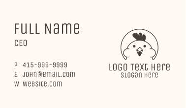 Black Cute Chicken Outline Business Card