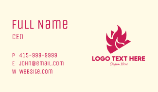 Red Burning Media Player Business Card