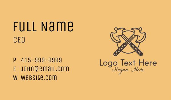 axe - Medieval Battle Axe Business card horizontal design