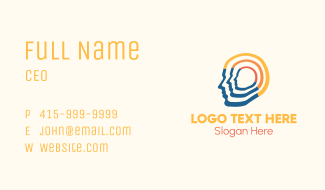 Multicolor Human Head Business Card