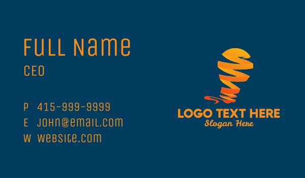 media company - Orange Ribbon Light Bulb  Business card horizontal design