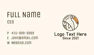 Round Minimalist Toucan Business Card