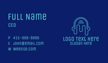 Head Outline Headphones Business Card