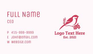 Pink Bird Perch Business Card