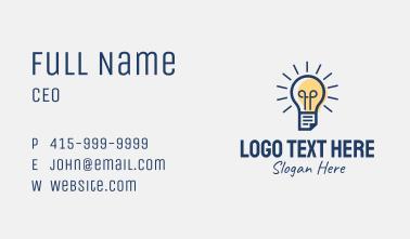 Lightbulb Learning Center  Business Card