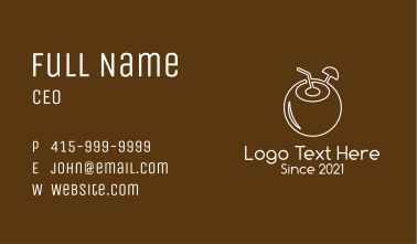 White Outline Coconut Drink Business Card