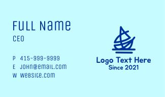 Blue Nautical Boat Business Card