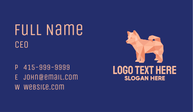 Geometric Pet Dog  Business Card