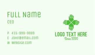 Green Heart Hand Clover Business Card